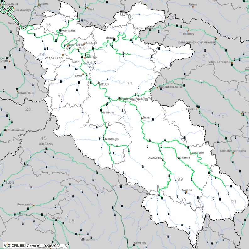 Carte de vigilance Seine moyenne-Yonne-Loing